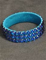 5-rows 20ss Swarovski Capri Blue Bangle Bracelet