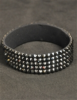 5-rows 20ss Swarovski Jet Hematite Bangle Bracelet