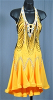 Yellow Ruffle Dress with Hand Made Beads Strings