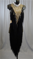 Sexy Black and Gold Fringe Latin Dress