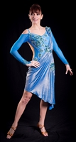 Elegant Blue Drape Latin Dress