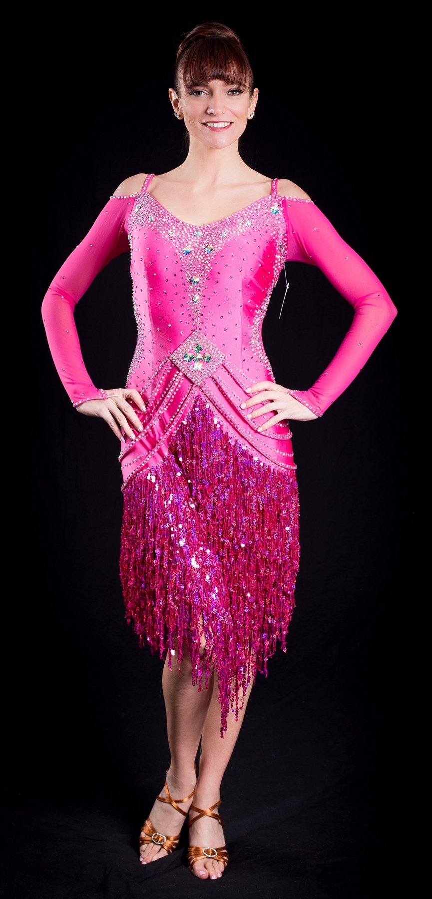 Fun Hot Pink Sequin Fringe Latin Dress
