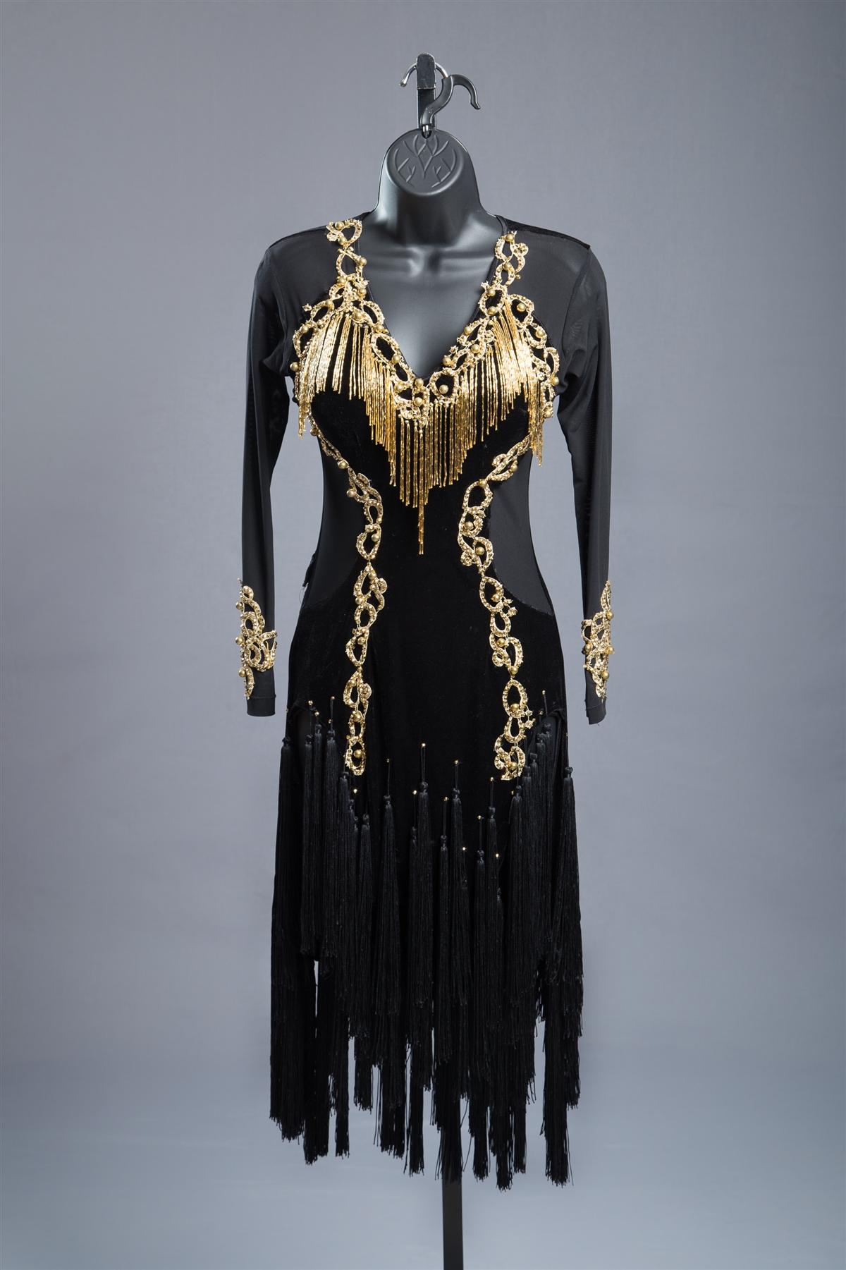 Long Mesh Sleeves Black Gold Sexy Fringe Latin Dress