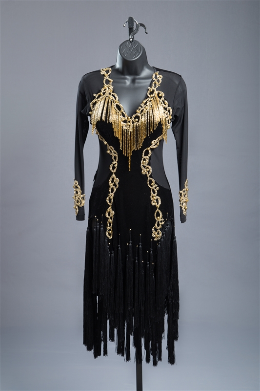 Black Gold Sexy Fringe Latin Dress