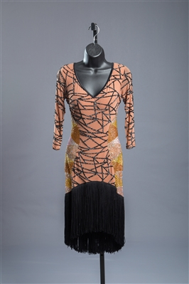 See Through Nude & Black Fringe Latin Dress