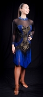 Sexy Black & Blue Fringe Latin Dress