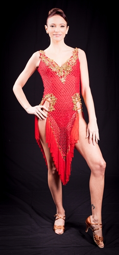 See Through Net Red Fringe Latin Dress