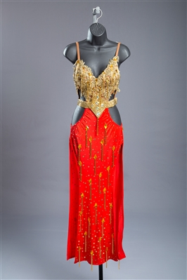 Sexy Gold & Red Beaded Fringe Latin Dress