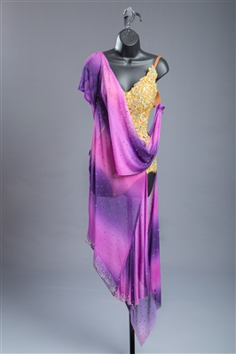 Sexy Purple Gold Drapy Latin Dress