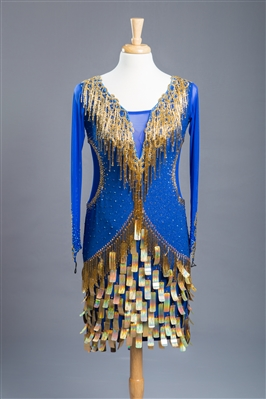 Royal Blue Shiny Gold Beads and Coins Latin Dress