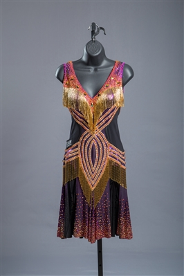 Sexy Purple Gold Beaded Fringe Latin Dress