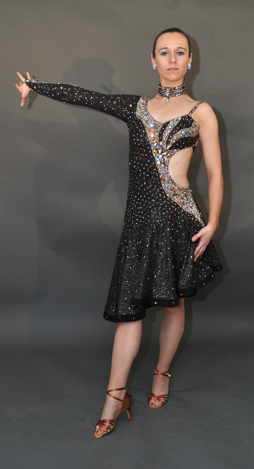 Elegant And Sexy Black And Silver Latin Dress