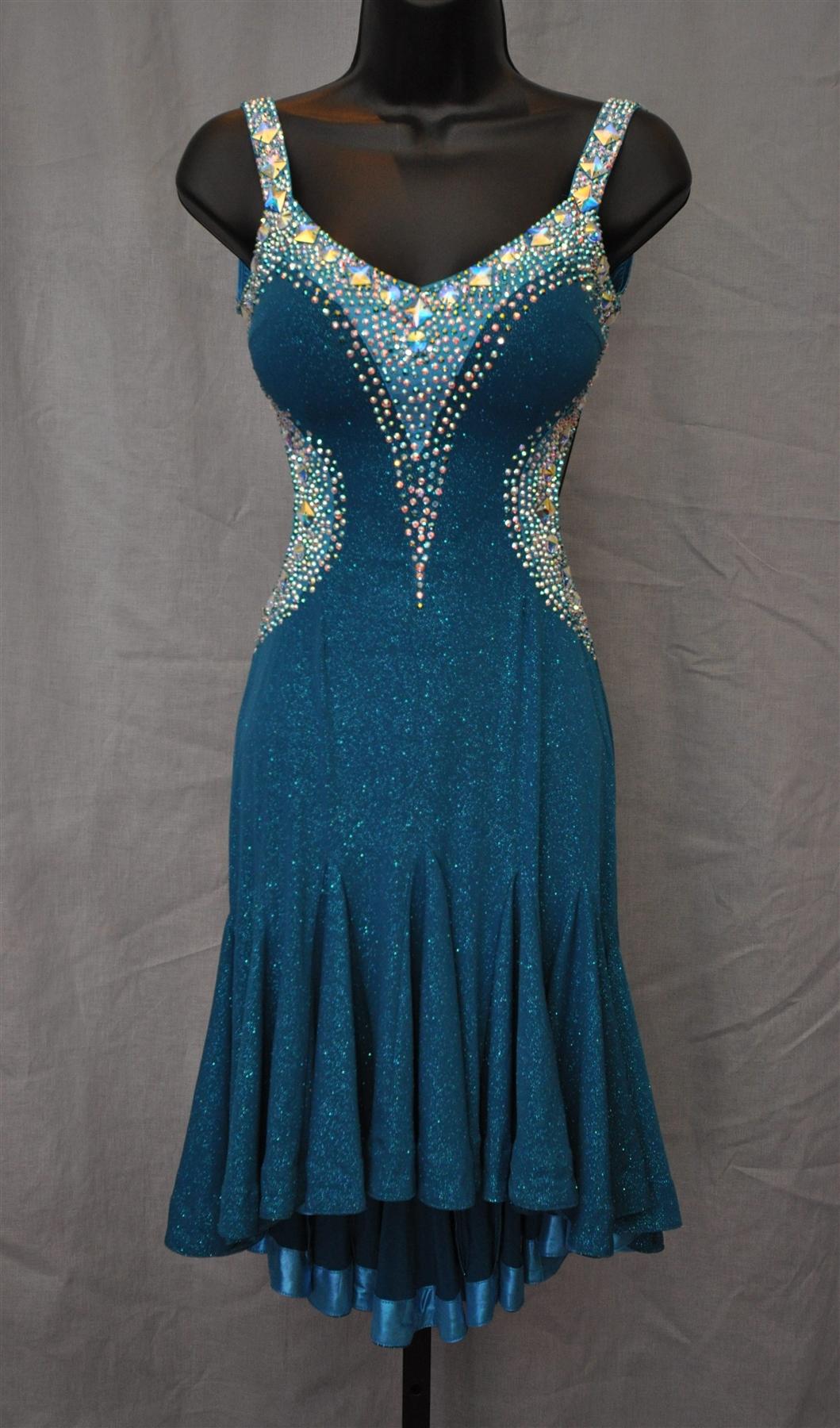Elegant and Sexy Teal Aqua Latin Dress