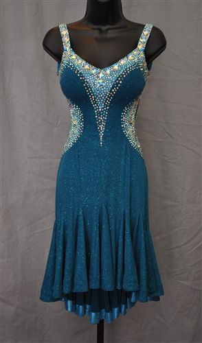 Elegant And Sexy Teal Aqua Latin Dress
