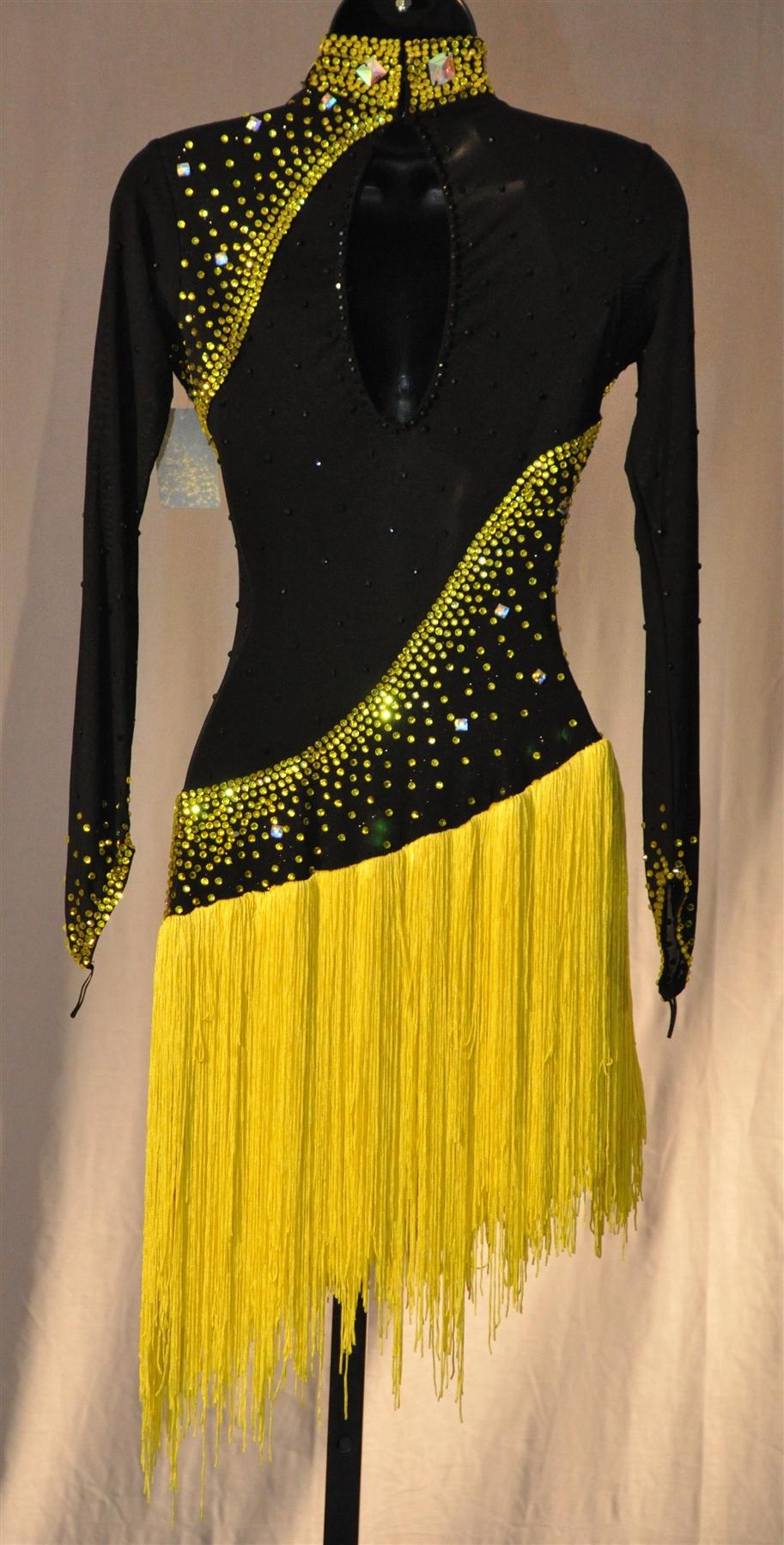 Black Amp Yellow Fringe Latin Dress