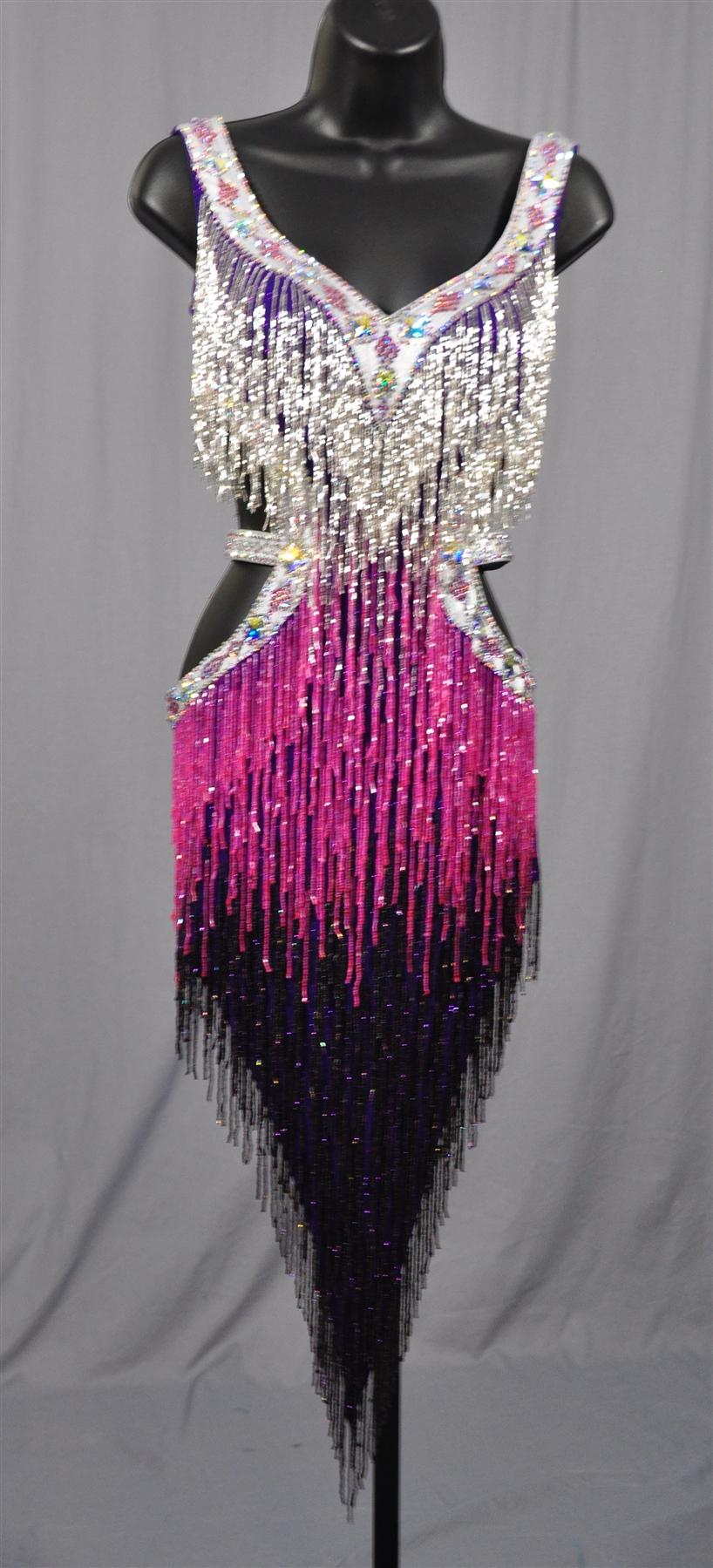 Sexy Silver Amp Purple Beads Fringe Latin Dress