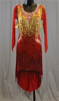 Fun & Sexy Red & Gold Hand Made Beads Latin Dress