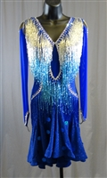 Sexy Royal Blue Beads Latin Dress