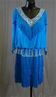 Elegant Mesh Top Lng Sleeves Fringe Latin Dress