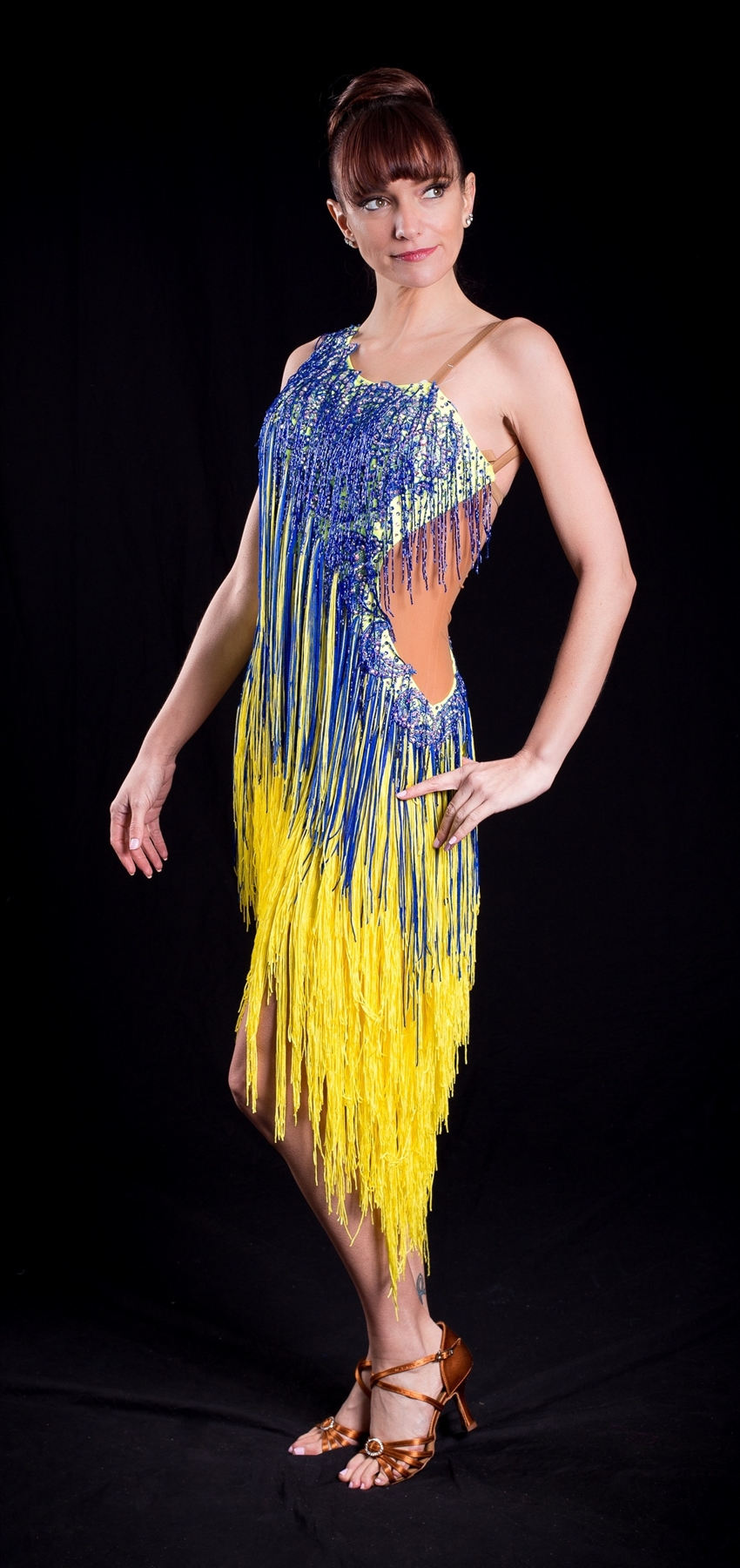Sexy Blue And Yellow Beads And Fringe Latin Dress