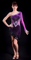 Sexy Egg Plant Velvet Beaded Fringe Latin Dress