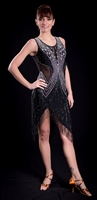 Black & Silver Beaded Fringe Latin Dress