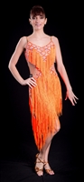 Fun Orange Fringe Latin Dress