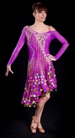 Elegant Fuchsia Beaded Fringe & Coin Latin Dress