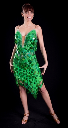 Sexy Green Coin Fringe Latin Dress