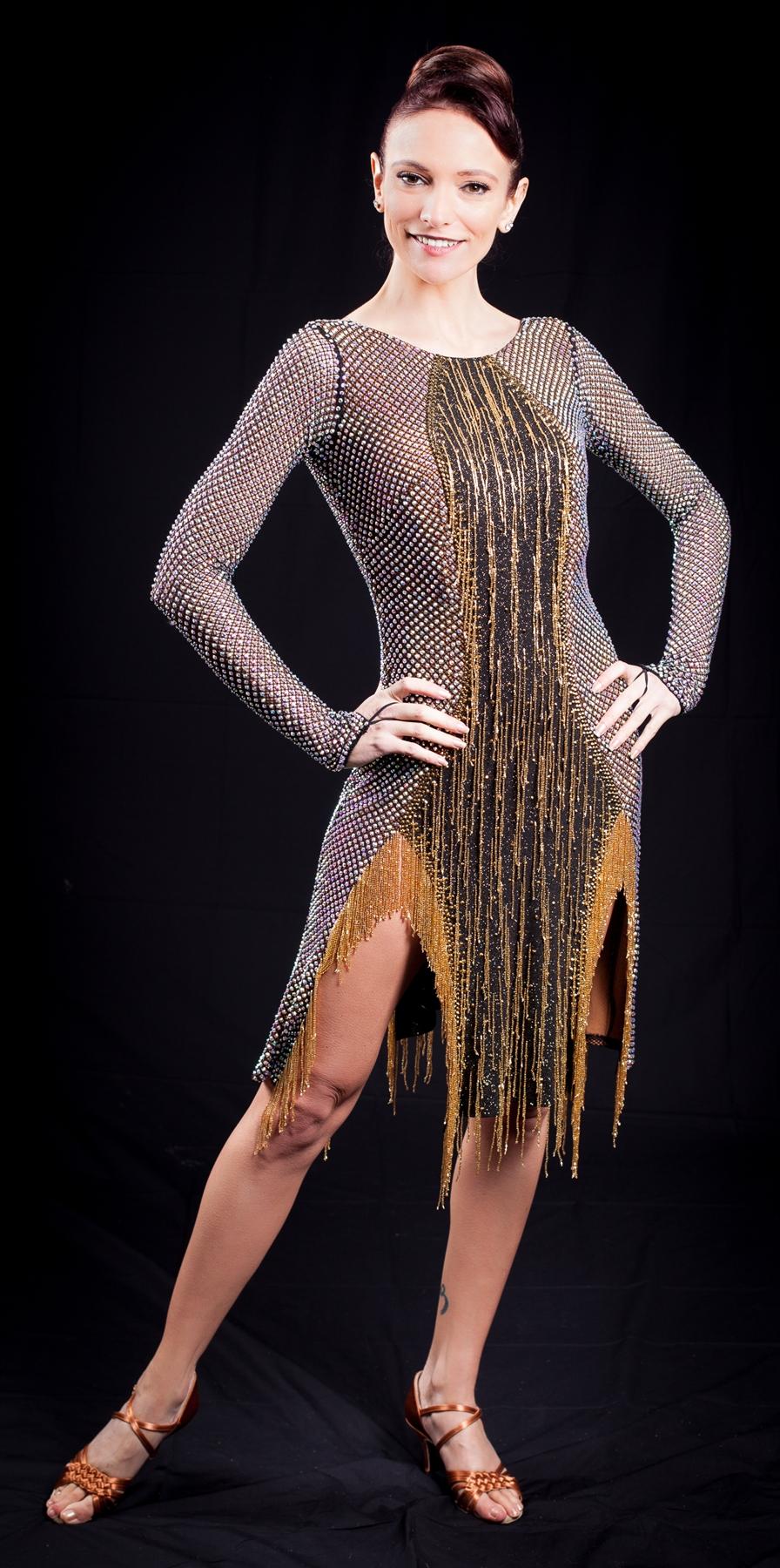 Sexy Net Amp Beaded Fringe Latin Dress