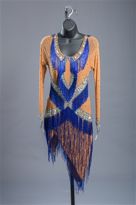Sexy Nude and Blue Beaded Fringe Latin Dress