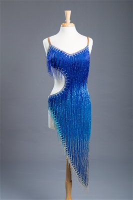 Sexy Blue Beaded Fringe Latin Dress
