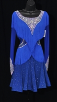Fun Royal Blue Fringe Latin Dress