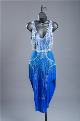 Sexy Blue Bead Fringe Latin Dress