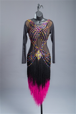 Elegant & Fun Black Fuchsia Fringe Latin Dress