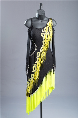 Black & Yellow Beaded Fringe Latin Dress