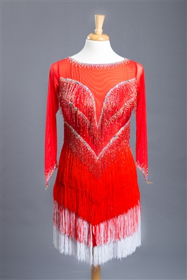 Fun Red and White Beaded Fringe Latin Dress