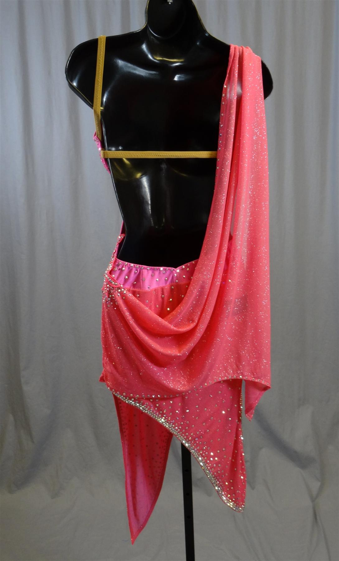Sexy Pink Drape Latin Dress