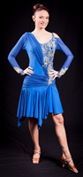 Royal Blue Long Mesh Sleeves Latin Dress