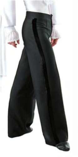 GrandPrix Mens Ballroom and Latin Dance Pants with Velvet Side Band
