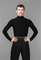 Men's Turtle Neck Velvet Line Latin Dance Shirt