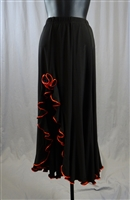Shinny Edging Rose Long Skirt with Built-in Under Pants