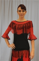 Black & Red Fringe Belt Mesh Sleeves top