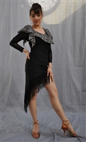 Slanted Fringe Latin Skirt with Built-in Under Pants