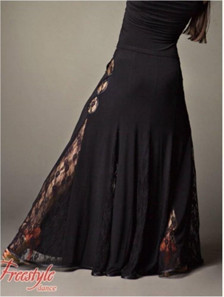 Ballroom Dance Lace Long Skirt