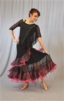 Wired Ruffle Ballroom Dance Skirt with built-in Under Pants