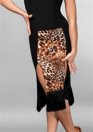 Leopard Black Fringe Latin Skirt With Under Pants