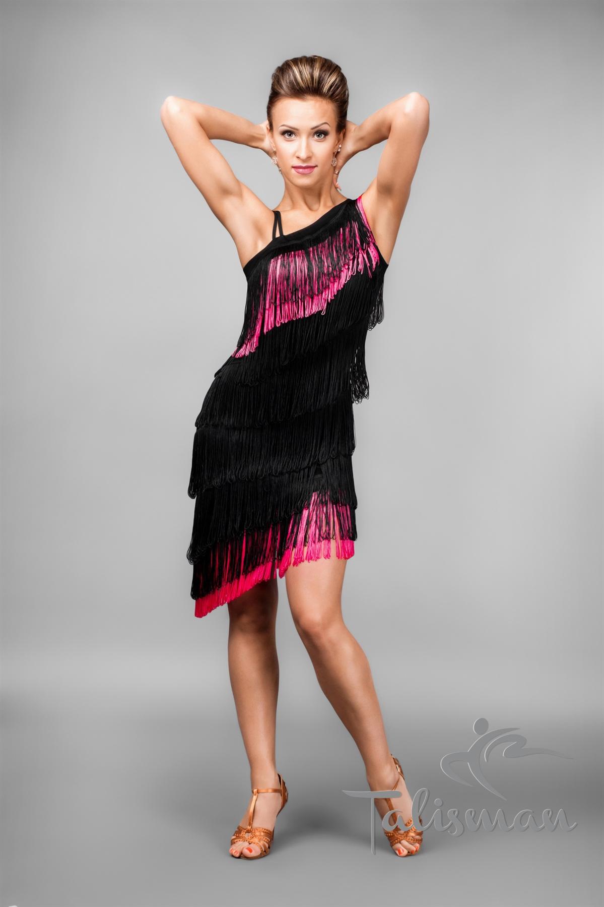 Black And Pink Fringe Latin Dress