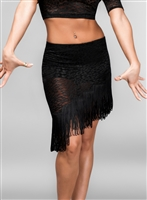Slanted Lace Fringe Skirt with Under Pants