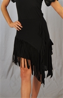 Side Ruffle Slanted Cloth Fringe Latin Skirt with Built-in Under Pants
